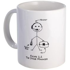 Shop Stage Manager Mugs from CafePress. Our mugs are made of durable ceramic that's dishwasher and microwave safe. Theatre Jokes, Theatre Nerds, Music Theater, Broadway Theatre, James And Giant Peach, Stage Management, Things I Need To Buy, Senior Gifts, Twelfth Night
