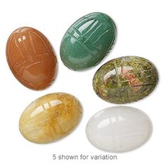 Bead mix, multi-gemstone (natural), 28x20mm scarab, B grade. Sold individually. - Fire Mountain Gems and Beads