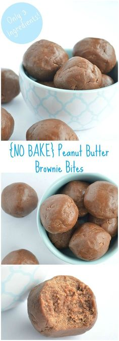 No Bake Peanut Butter Brownie Bites. Perfect combo of PB and chocolate! Only 3…