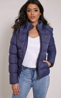 Victoria Navy Faux Fur Hooded Puffa Jacket Image 2
