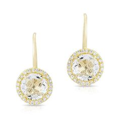 At Anne Sisteron Fine Jewelry, Buy yellow gold round white topaz diamond earrings online Topaz Jewelry, Jewellery, Gold Number, White Topaz, Fashion Earrings, Bridesmaid Gifts, Jewelry Collection, Diamond Earrings, Fine Jewelry