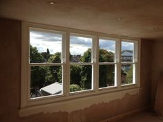 A bank of four uPVC sash windows to a loft conversion. Upvc Sash Windows, Dormer Windows, Windows And Doors, Carpentry And Joinery, Attic Rooms, Big Houses, New Homes, Cottage, Loft Conversions