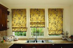 Kitchen without window curtains looks empty and cold. curtains are the last link in the styling of any room Blinds, Curtains, Simple Window Treatments, How To Make Curtains, Kitchen Window, Window Curtains, Curtains With Blinds, Kitchen Window Curtains, Yellow Kitchen Curtains