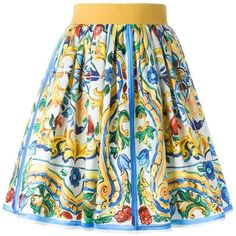 Dolce & Gabbana Majolica Print Skirt ($528) ❤ liked on Polyvore featuring skirts, multicolour, high waisted pleated skirt, pleated skirt, knee length a line skirt, high waisted skirts and pleated a line skirt