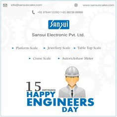 #Engineers are person who discover world by their pen and brain – Happy Engineer Day  www.sansuiscales.com  #SansuiElectronicsPrivateLimited Engineers Day, Jewelry Scale, Weighing Scale, Info, Brain, Engineering, Happy, The Brain, Scale