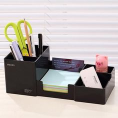 Pen Holders New Stick On Desktop Pen Holder Makeup Storage Pot Case Plastic Desk Organizer Stationery Holder Pencil Vase #63 Desk Accessories & Organizer