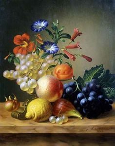 Grapes, a Lemon, a Fig and other Fruit