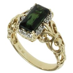 Michael Valitutti 14k Yellow Gold Bahia Green Radiant-cut Tourmaline and Diamond Ring   Overstock™ Shopping - Top Rated Michael Valitutti Gemstone Rings