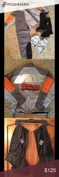 Harley Davidson rain suit HD reflective hi-viz rain jacket, pants, removable hood and gaiters/boot covers.  Suitable for men or women. Harley-Davidson Jackets & Coats Raincoats