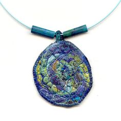 Collage Fiber Necklace Blue Neklace Blue Jewelry Textile Necklace Spring Necklace Summer Necklace Lightweight Necklace Under 25 OOAK