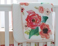 Coral peach floral flowers baby bedding set. Boho baby room ideas. The blanket is soft minky! Floral Ruffle Baby Minky Blanket (Amazon Affiliate link) Baby Girl Crib Bedding, Girl Cribs, Baby Bedding Sets, Baby Comforter, Baby Cribs, Ruffle Blanket, Minky Baby Blanket, Floral Nursery, Baby Nursery Decor