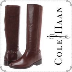 """COLE HAAN """"Adler"""" Boots COLE HAAN Chestnut Brown Leather and Suede Boots. Gorgeous solid brown leather on front and brown suede leather on back of boots. Easy slip ons. Belt and brass stud ankle accents. No zippers. Flat heels for comfort walking. Size 8.5M. No box. [THIS IS ACTUAL PHOTO OF BOOTS BEING SOLD].                                                    Heel Height (Inches): 1 1/4 Inches Platform Height (Inches): 1/4 Inches Shaft Height (Inches): 15 1/2 Inches Shaft Width (Inches): 14…"""