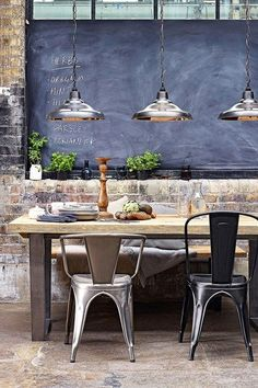 dining rooms, lights, interior, chairs, brick, chalkboard, industrial style, kitchen, dining tables