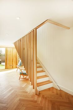 oak stair with a timber slatted balustrade at The White House, our Winchester extension and remodelling project. Timber Handrail, Timber Staircase, Staircase Handrail, Timber Slats, Oak Stairs, Modern Staircase, House Stairs, Garden Stairs, Spiral Staircases
