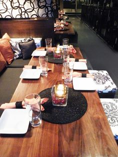 Tapas Lounge by day, Night Club by night.  Table setting. http://www.the2ndfloormotif.com/  Ida York Interior Design