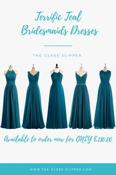 Teal Bridesmaids dresses available to order NOW at The Glass Slipper Summer Bridesmaid Dresses, Beautiful Bridesmaid Dresses, Wedding Bridesmaids, Prom Dresses, Formal Dresses, Wedding Dresses, April Wedding, Autumn Wedding, Glass Slipper