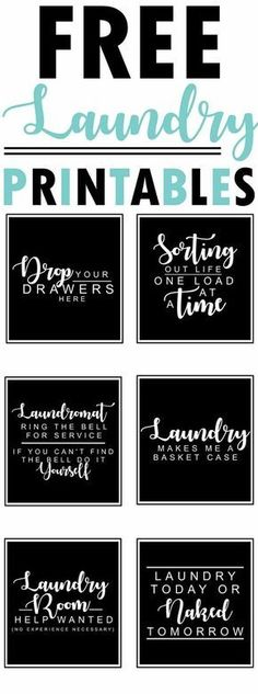 6 free farmhouse-style black and white laundry room printables with funny quotes and sayings - collection by craft-mart room art Free Farmhouse Printables Fixer-Upper Style Laundry Room Organization, Laundry Room Design, Laundry In Bathroom, Small Laundry, Bathroom Signs, Laundry Closet, Laundry Room Sayings, Laundry Decor, Laundry Art