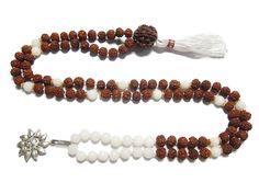 Rudraksha Moon Stone Mala Necklace Om Pendant Crown Chakra Rosary Beads 108+1