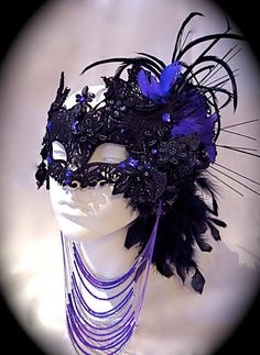 Dark Fairy Black & Purple Venetian Mask by Marcellefinery on Etsy, $85.00