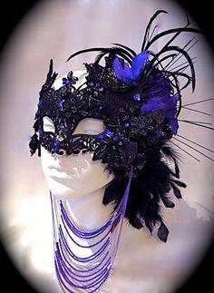 Dark Fairy Black & Purple Venetian Mask by Marcellefinery on Etsy, $85.00