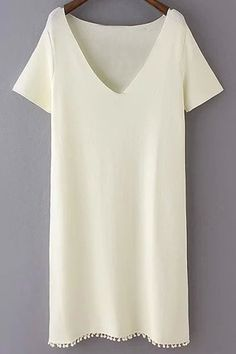 Pure Color Plunging Neck Short Sleeves Dress WHITE: Casual Dresses | ZAFUL