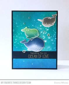 Here's this week's MFT Wednesday Sketch Challenge . Three aquatic critters were whit. British, Distress Oxide Ink, Mft Stamps, Ocean Creatures, Card Sketches, Watercolor Cards, Card Tags, Backdrops