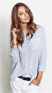 Mos Mosh - Key Solid Shirt - Sky Blue