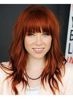 Beautful Natural Wave Red Brown Medium Capless Wig with Full Bangs 100 Human Hair 16 Inches