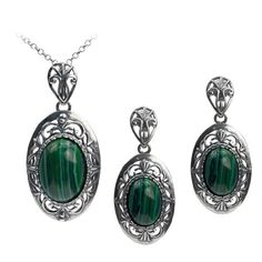 Sterling Silver Imitation Malachite Filigree Oval Earrings Pendant Set Chain 18 Inches *** Check out this great product.