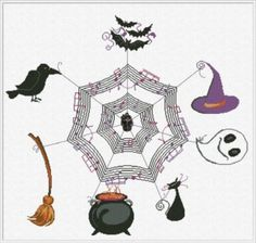 Halloween Concert is the title of this cross stitch pattern from Halloween Concert. The charm is included with the price of the pattern.