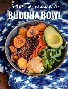 Anatomy of a Budha Bowl by init4thelongrun: Choose a special bowl. Start with a Base Layer of Greens. Add a Variety of Veggies & Beans. Top with Grains, Nuts & Seeds. Dress with Your Favorite Sauce/Dressing. Eat mindfully enjoying all the flavors and textures Enjoy the good vibes from a happy belly #Buddha_Bowl #How_to #Healthy