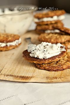Rum Raisin Oatmeal Cookie Sandwiches by Amber (Sprinkled With Flour), via Flickr