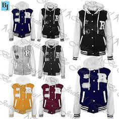 Womens r #varsity baseball hoody ladies #hoodie usa sports long #sleeve coat jack,  View more on the LINK: 	http://www.zeppy.io/product/gb/2/401061541226/