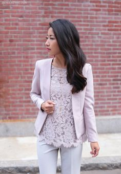 Lilac lace for work and weekends - Extra Petite - how to wear lace at the office - business casual outfit with lace tee + blazer - Stylish Work Outfits, Business Casual Outfits, Business Attire, Office Outfits, Office Attire, Business Fashion, Business Clothes, Night Outfits, Business Women