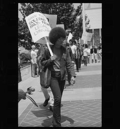 Angela Davis demonstrates against prison conditions at the State Building (Calif.)1970