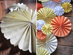 8.5 x  11 paper accordion folded on the short side, cut into various sizes to make smaller circles.  Die cut punch to scallop, etc. petal.  Instructions on blog but photos wouldn't load for me.
