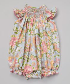 Loving this Stellybelly Coral & Light Blue Floral Bubble Romper - Infant & Toddler on #zulily! #zulilyfinds