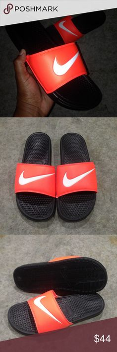 ORANGE NIKE BENASSI SWOOSH SLIDES NWT Nike Benassi Swoosh   Total Crimson / Black / White  *( these actually look like neon orange )*  CONDITION: Brand New with out box  *SATISFACTION IS 100% GUARANTEED*  ADDITIONAL NOTES: Guaranteed to be 100% AUTHENTIC NIKE MERCHANDISE (purchased from an authorized Nike retailer)  Sandal Slide Sandals Nikes Nike Shoes Sandals & Flip-Flops
