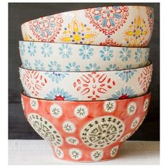 Chehoma Multi-Colored Bohemian Bowls- set of These bowls are the perfect compliment to any kitchen and make for great food photography! Home Decor Accessories, Decorative Accessories, Little Presents, Pottery Painting, Vintage Home Decor, Sweet Home, House Styles, Stylish Interior, Interior Ideas