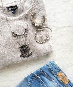We love boho accents + silver cuffs, don't you?! Shop now at www.oliveandpiper.com #silver #boho #jewellery