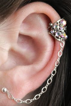 16652b6eb Crystal Butterfly Wing Ear Cuff with a Chain to Post Thumb Rings, Toe Rings,