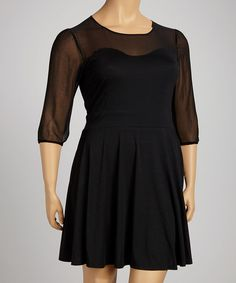 Take a look at this Ice Silk Black Sheer Three-Quarter Sleeve Dress - Plus on zulily today!