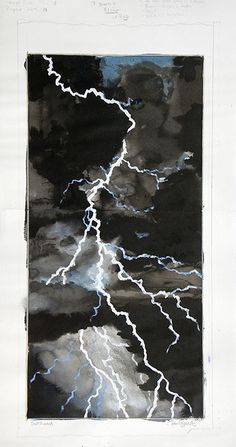 Paul Binnie, Lightning, watercolor for woodcut design Classroom Art Projects, Cool Art Projects, Japanese Tattoo Art, Japanese Art, Japanese Watercolor, Watercolor Art, Weather Art, 5th Grade Art, Nature Drawing