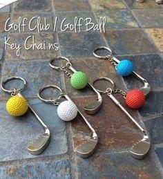 Golf Ball/ Golf Club Keychains by TuttoBellissimo on Etsy