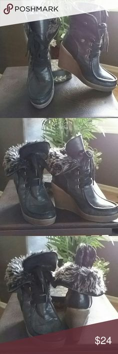 """* Mossimo Supply CO. * Black Faux Fur Boots * Beautiful * Black Wedge Boots * 4"""" Heels * Excellent condition * Worn once * No Trades * Bundle and Save * Thanks for Posh ?? Mossimo Supply Co Shoes"""