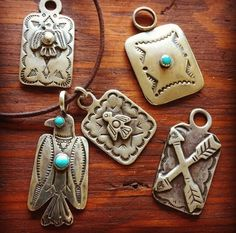 Vintage Native American sterling silver and turquoise pendants. Thunderbirds, arrows, etc.