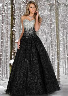 Find Disney Forever Enchanted 35515 black and silver strapless ball gown prom dresses available now at RissyRoos.com. This dress would be every girls dream come true! #RissyRoosProm