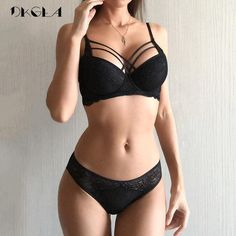 Classic Bandage Black Bra Set Push Up Brassiere Thicker Cotton Underwear Set Sexy Bras Lace Embroidery Gather Women Lingerie Sets - womens underwear Lingerie Design, Sexy Lingerie, Women's Lingerie Sets, Jolie Lingerie, Lingerie Outfits, Pretty Lingerie, Lingerie Models, Push Up Lingerie, Bra And Underwear Sets