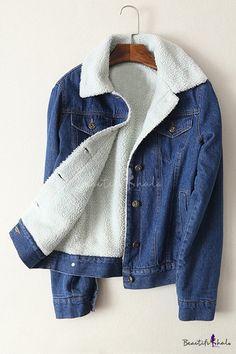 Contrast Lapel Single Breasted Long Sleeve Lamb Wool Denim Coat 8894af30838