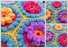 Chunky Double Bobble Stitch Hexagons and Flowers